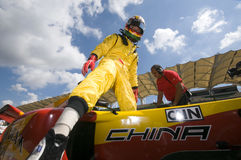 Driver Ho Pin Tung of A1 Team China exits his car Stock Photo
