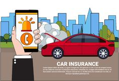 Driver Holding Smart Phone Order Insurance Service Assistance Over Broken Car Background. Vector Illustration Royalty Free Stock Photography