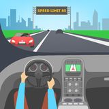 Driver inside a car. Hand on the steering wheel. Automobile control. Flat vector illustration stock illustration