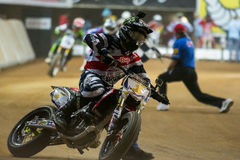 Driver Jared Mees. Dirt Track Superprestigio competition at the Palau Sant Jordi. Stock Photography