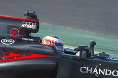 Driver Jenson Button . Team McLaren Honda. Formula One Test Days at Circuit de Catalunya. Montmelo, Spain. March 4, 2016 Stock Images