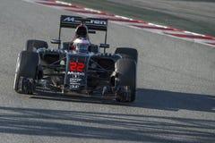 Driver Jenson Button . Team McLaren Honda. Formula One Test Days at Circuit de Catalunya. Montmelo, Spain. March 4, 2016 Royalty Free Stock Image