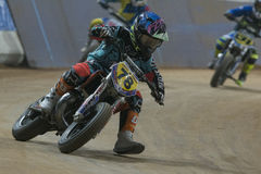 Driver Joel Esteban. Dirt Track Superprestigio competition at the Palau Sant Jordi. Royalty Free Stock Images