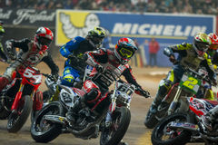 Driver Julian Simon. Dirt Track Superprestigio competition at the Palau Sant Jordi. Royalty Free Stock Photo