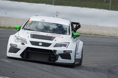 Driver Julien Briche. SEAT Leon Eurocup. At Circuit of Barcelona. Montmelo, Spain. November 6, 2016 Royalty Free Stock Photo