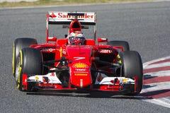 Driver Kimi Raikkonen. Team Ferrari F1. Formula One Test Days at Circuit de Catalunya. Montmelo, Spain. February 28, 2015 Stock Photography