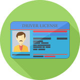 Driver License Flat Icon Stock Photography