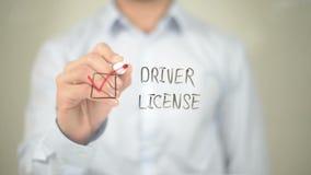 Driver License, Man writing on transparent screen. Man writing on transparent screen stock footage