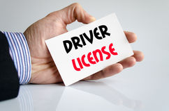 Driver license text concept. Over white background Stock Photos