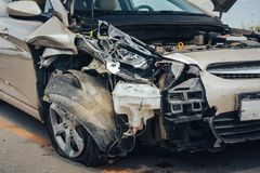 Car crash accident on street, damaged automobiles after collision in city. stock photo