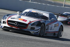 Driver MANUEL DA COSTA. Mercedes SLS AMG GT3. International GT Open. Montmelo, Spain. October 31, 2015 royalty free stock photo