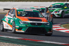 Driver Manuel GIAO. Seat Leon Eurocup. The nternational GT Open. Barcelona, Spain. November 2, 2014 royalty free stock images
