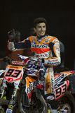 Driver Marc Marquez. Dirt Track Superprestigio competition at the Palau Sant Jordi. Royalty Free Stock Photos