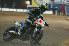 Driver Maria Herrera. Dirt Track Superprestigio competition at the Palau Sant Jordi. Royalty Free Stock Images