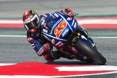 Driver Maverick Vinales. Yamaha Team. Monster Energy Grand Prix of Catalonia Stock Photography