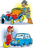 Driver and mechanic. A picture of an old model car and a modern transport. Near the cars are a driver and mechanic in the uniformed.Illustration done in cartoon Royalty Free Stock Images