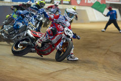 Driver Oriol Mena. Dirt Track Superprestigio competition at the Palau Sant Jordi. Royalty Free Stock Image