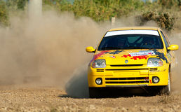 Driver piloting his car at Barsa Rally. BUCHAREST, ROMANIA - SEPTEMBER 02: Unknown car driver piloting his car at Barsa Rally 2011 stage Shakedown at Ciolpani on Stock Photo
