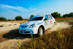 Driver piloting his car at Barsa Rally Stock Photos