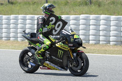 Driver Pol Espargaro and tribute to the dead pilot Luis Salom. Stock Images