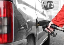 The driver pumping gasoline. Stock Photography