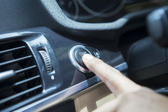 Driver Push Start Button Of A Car Royalty Free Stock Image