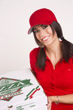 Driver Red Uniform Brings Food Pizza Delivery Stock Photos