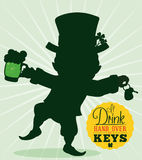 Driver Reminder Safety with Leprechaun Silhouette, Vector Illustration Royalty Free Stock Image