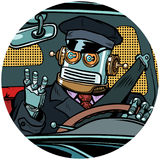 Driver robot drone pop art avatar character icon vector illustration