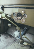 Driver's cabin of an old 4x4 vehicle. Stock Image