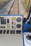 Driver's control room of a train Stock Photo