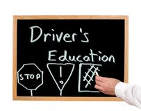 Driver's Education. Is written in chalk on a chalkboard Royalty Free Stock Photos