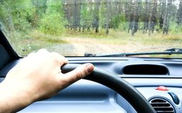 Driver`s hand on the steering wheel inside the car on a forest r royalty free stock photography