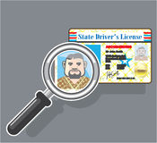 Driver's License under Magnifying glass Stock Photo