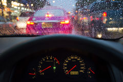 Driver's point of view of a car stuck in a traffic in Bangkok Royalty Free Stock Photography