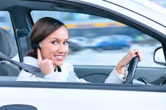 Driver is safely talking phone Royalty Free Stock Photo