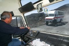 Driver of a tourist bus of mount Etna on Sicily Royalty Free Stock Photos