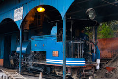 Driver Toy Train Parked Shed Angled Darjeeling Stock Image