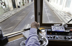 Driver tram in Lisbon Stock Photo