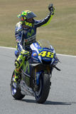 Driver Valentino Rossi win the race Royalty Free Stock Photo
