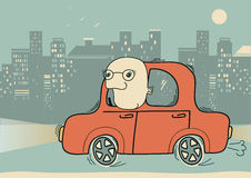 Driver.Vector man driving by car in the evening ci. Man driving by car in the evening big city.Vector cartoons illustration Stock Images