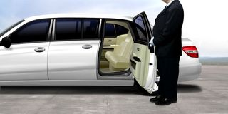 Driver waiting next to the white limousine Stock Photography