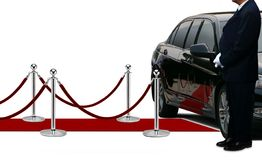 Driver waiting and standing next to the limousine Stock Photography