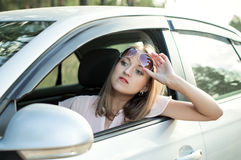 Driver woman driving a car Stock Photo