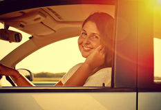 Driver Woman on the phone Stock Photos