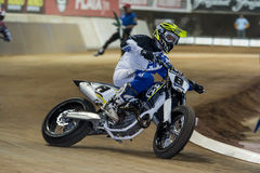 Driver Xavi Galindo. Dirt Track Superprestigio competition at the Palau Sant Jordi Stock Images