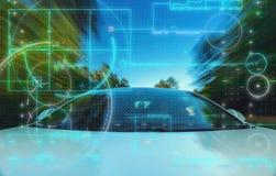 Driverless тема технологии автомобиля стоковое фото