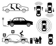 Driverless Autonomous Car. Illustrations depict autonomous electric car detecting the surrounding with sensors. The electric car use socket to charge battery stock illustration