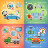 Driverless Car Autonomous Vehicle 2x2 Icons Set Stock Image