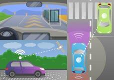 Driverless car banner set, cartoon style royalty free illustration